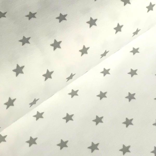 Bündchen mit Sternen, grau auf weiß