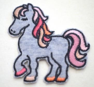 Applikation Pony, blau