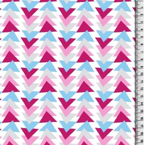 Gina Baumwollpopeline, Dreicke pink/blau auf weiß