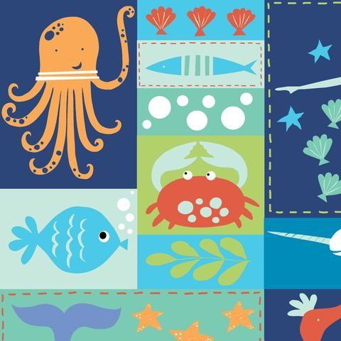 Monaluna, Under the Sea, Sea Life Patchwork, Bio-Webstoff