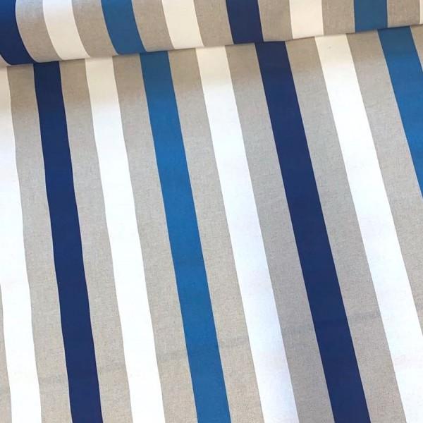 Dekostoff Maritim, Stripes, blau/weiß/natur