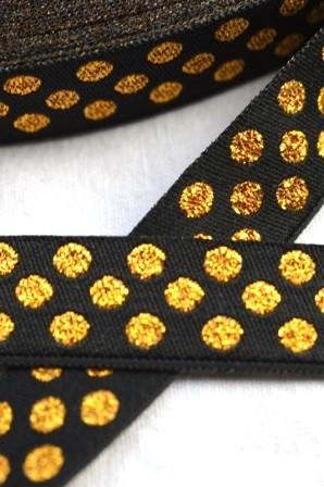 Glitzer Punkte, schwarz-gold, Webband