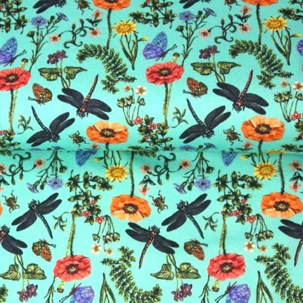 Stenzo Digitaldruck Mohnblumen&Libellen aqua, Jersey