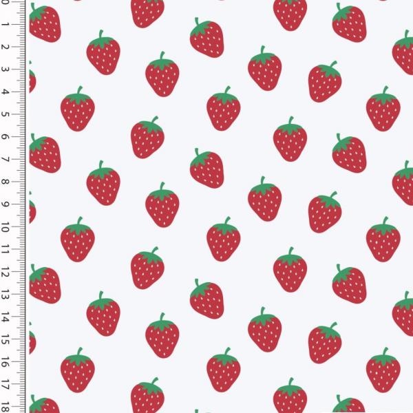 Strawberry auf weiß, Baumwollstoff