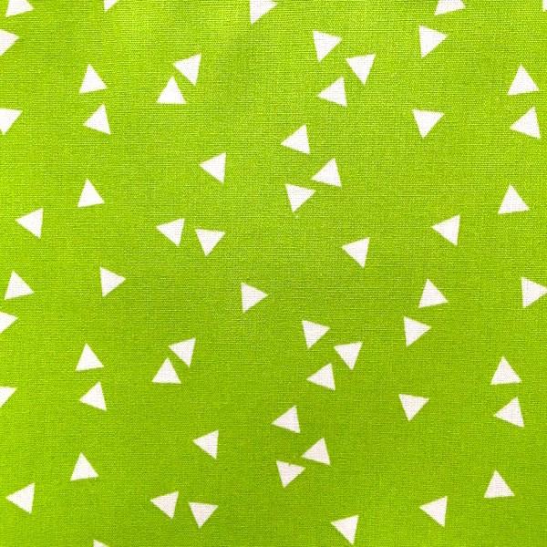 Lili Triangels, weiß auf hellgrün, Webstoff, waschbar bei 60°
