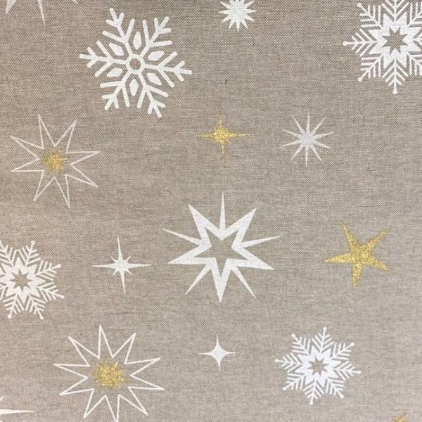 Dekostoff Weihnachtssterne weiß/gold auf leinen