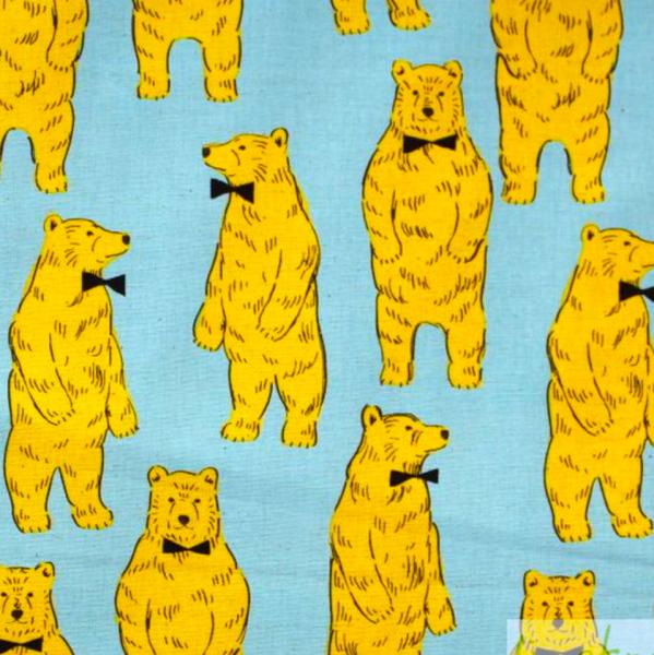 Cosmo Bären gelb auf türkis, Canvasstoff
