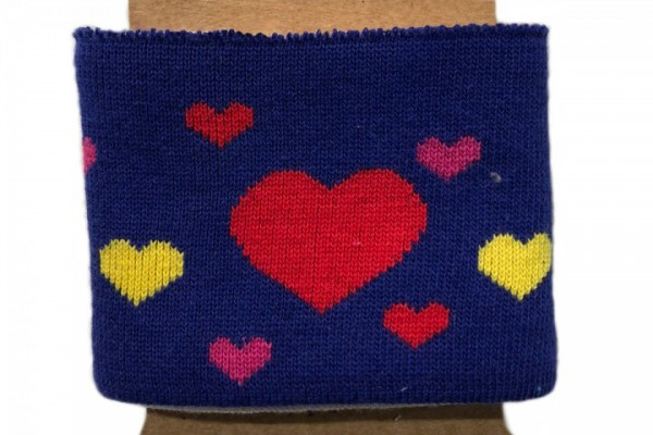 Strickbündchen mit Herzen auf royallblau, 110 cm