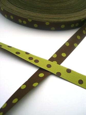 Punkteband, oliv-schoko, Webband beidseitig