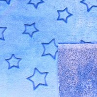 Microfleece Doubleface Sterne hellblau