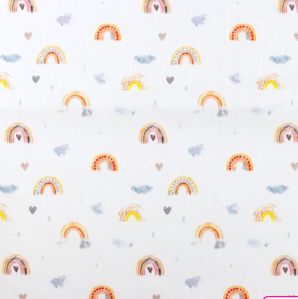 Baumwollpopeline Digitaldruck Regenbogen pastell