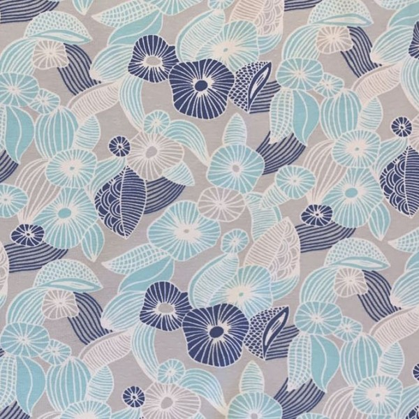 Summer! Blumen grau-dunkelblau-hellblau, Jersey, *Letztes Stück ca. 40 cm*