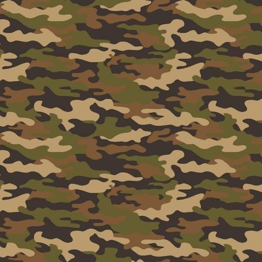 Baumwollpopeline, Camouflage braun, waschbar bei 60°