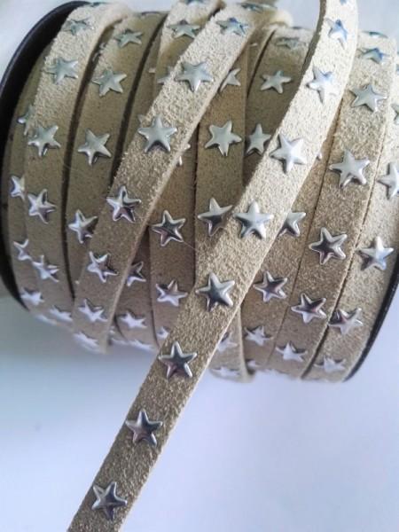 Lederband, Sterne, beige
