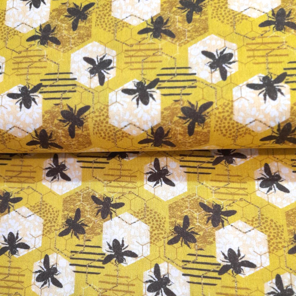 Bienen und Waben auf gelb, Baumwollstoff