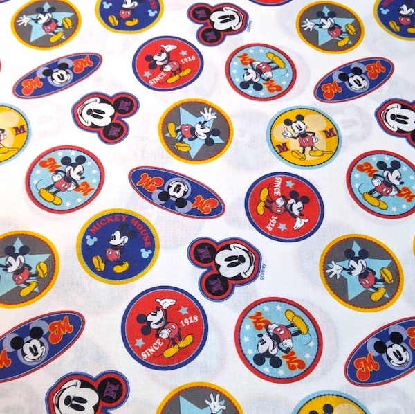 Mickey Mouse bunte Patches, Baumwoll-Popeline