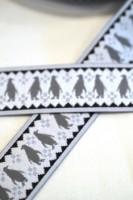 Pinguine, grau auf weiß, Webband