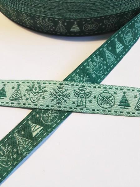 Nordische Weihnacht, grün, Webband