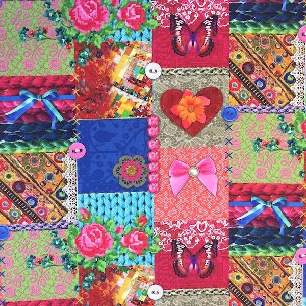 Digitaldruck Hearts-Patchwork bunt, Dekostoff, *SALE*