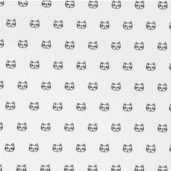 Robert Kaufmann Cats schwarz auf weiß, Baumwollstoff
