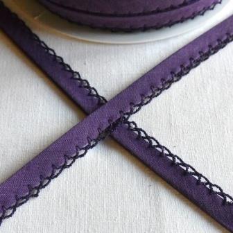 Schrägband mit Häkelborte, dunkles violett