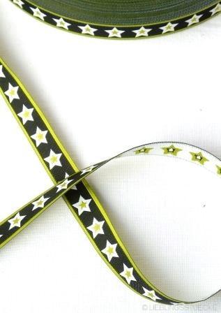 Stjerner, schwarz-lime, Webband