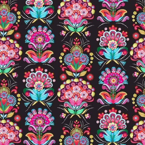 Softshell, Celebration Flowers auf schwarz