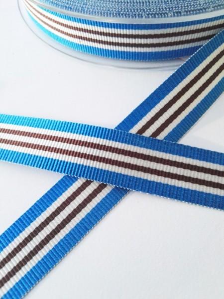 Streifen blau-weiß-braun, Ripsband
