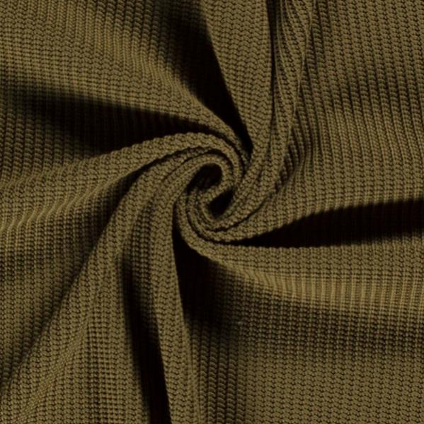 Grober Baumwoll-Strickstoff dunkles khaki