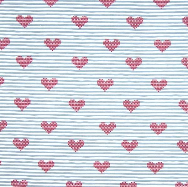Hearts, hellblau gestreift, Jersey