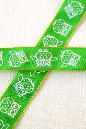 Eulen, grün, Stoffband *SALE*