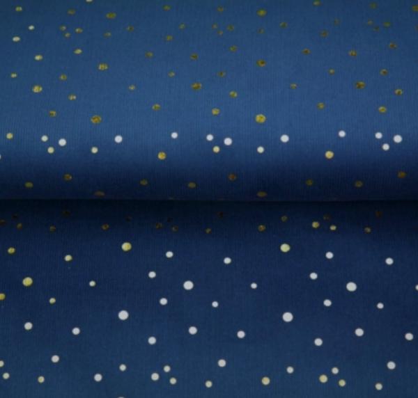 Cord mit Glitzerpunkten dunkelblau
