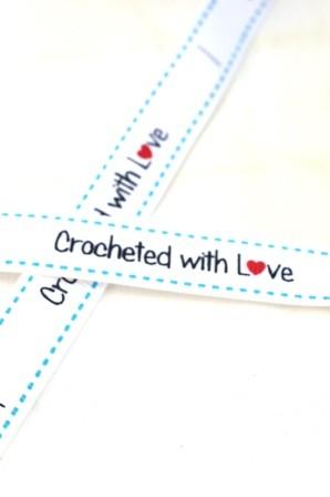 Crocheted with love, blau, Ripsband