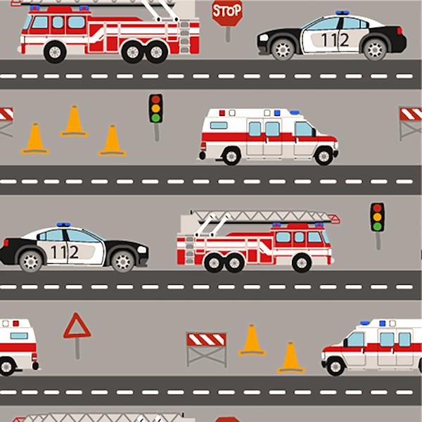 Rettungsautos auf der Straße, grau, Jersey