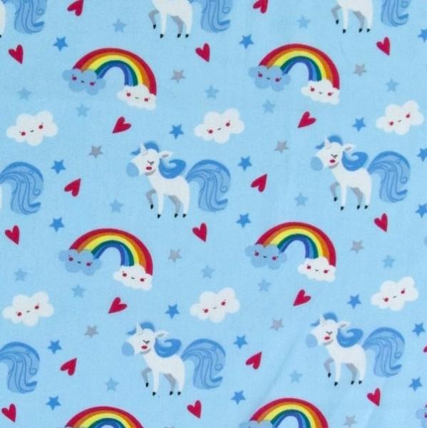 Einhorn und Regenbogen auf hellblau, Webstoff