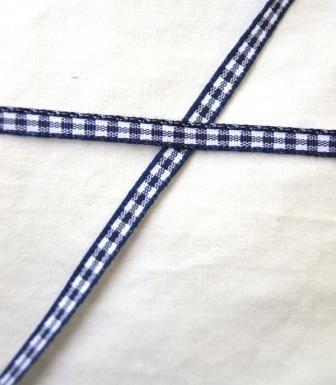 Band, dunkelblau kariert, 5 mm