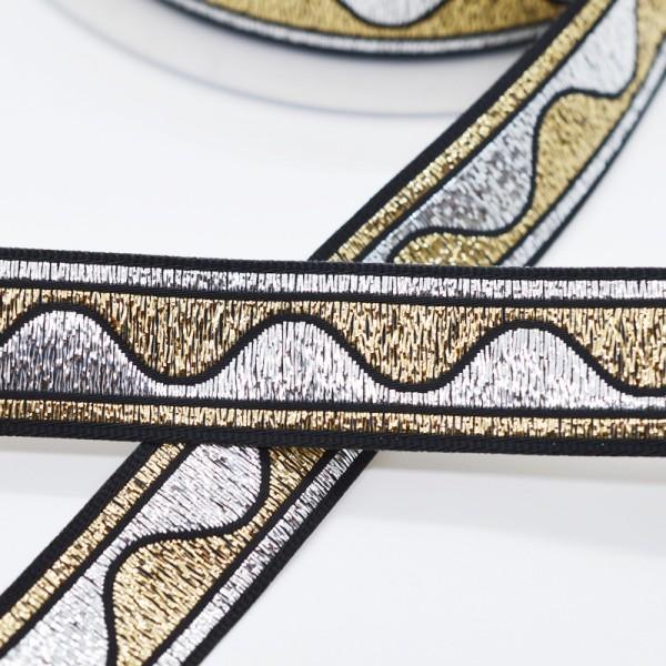 Ondas, lurex silber-gold, Webband
