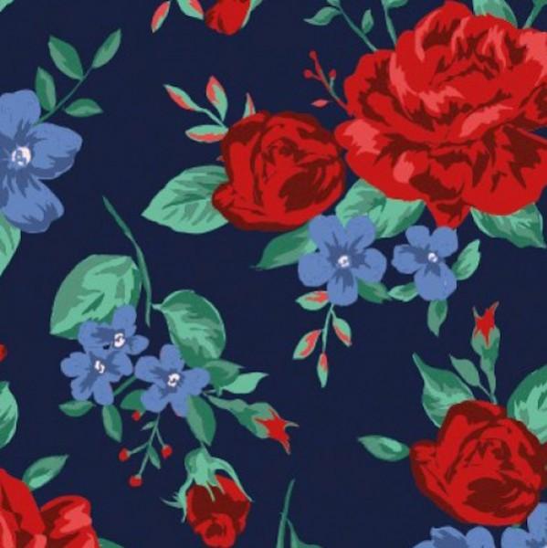 Rosenblüten rot-blau auf dunkelblau, Jersey