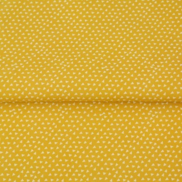 Stenzo Dreiecke weiß auf senf, Popeline