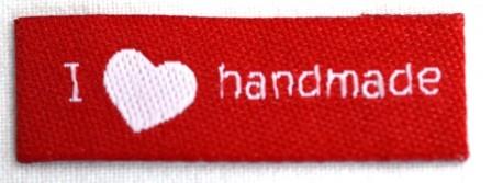 I love handmade, einfach, rot, Webetikett
