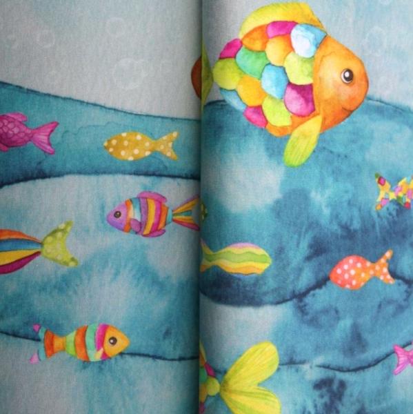 Stenzo Digitaldruck Regenbogenfische blau Bordüre, Jersey