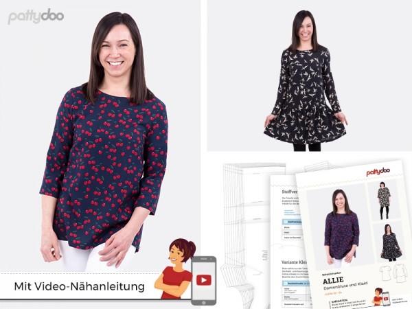 Allie Damen-Bluse und Kleid, pattydoo-Schnittmuster