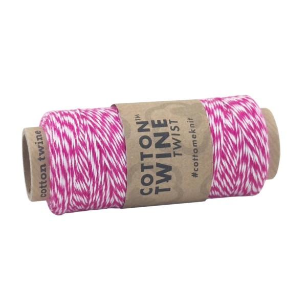 Cotton Twine, pink-weiß, 100 m