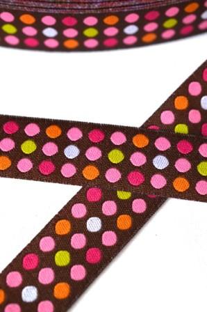 Punkte in drei Reihen, braun/pink, Webband