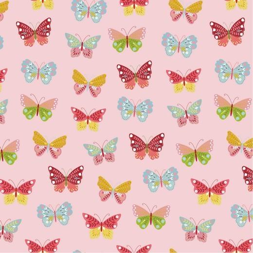 Happy Garden Butterfly rosa, Baumwoll-Popeline bei 60° waschbar