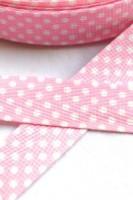 Köperband, gepunktet, rosa *SALE*