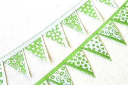 Wimpelkette, gestanzt, grün, Webband