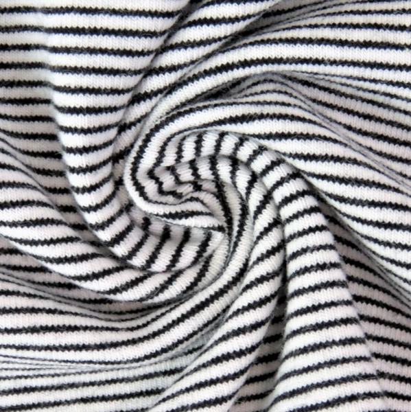 Hanni, Feiner Streifenjersey schwarz auf weiß