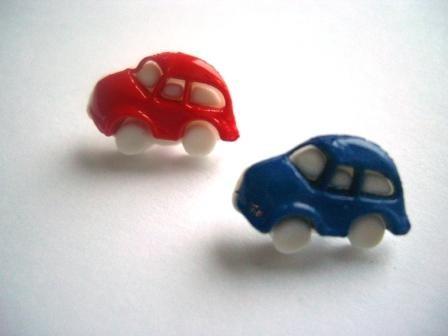 Auto, rot oder blau, Knopf
