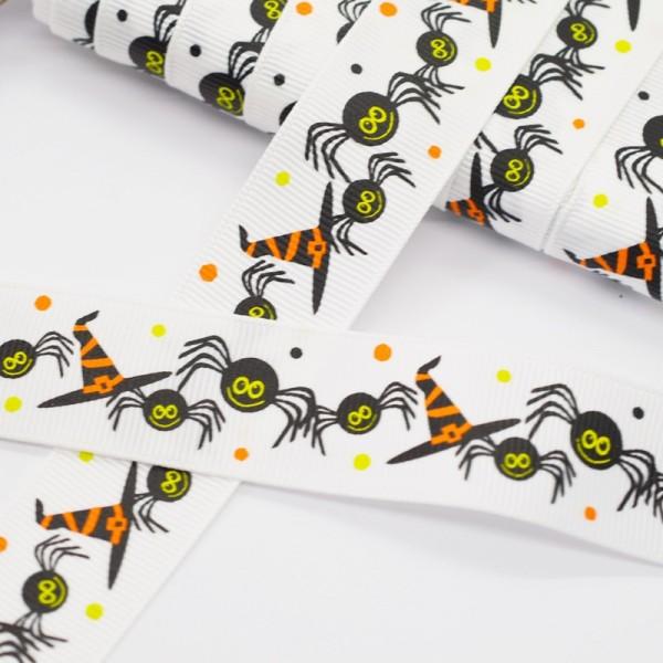 Ripsband, Halloween Spinnen mit Zauberhut, weiß